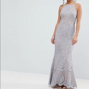 Jarlo Allover Lace High Neck Maxi Dress